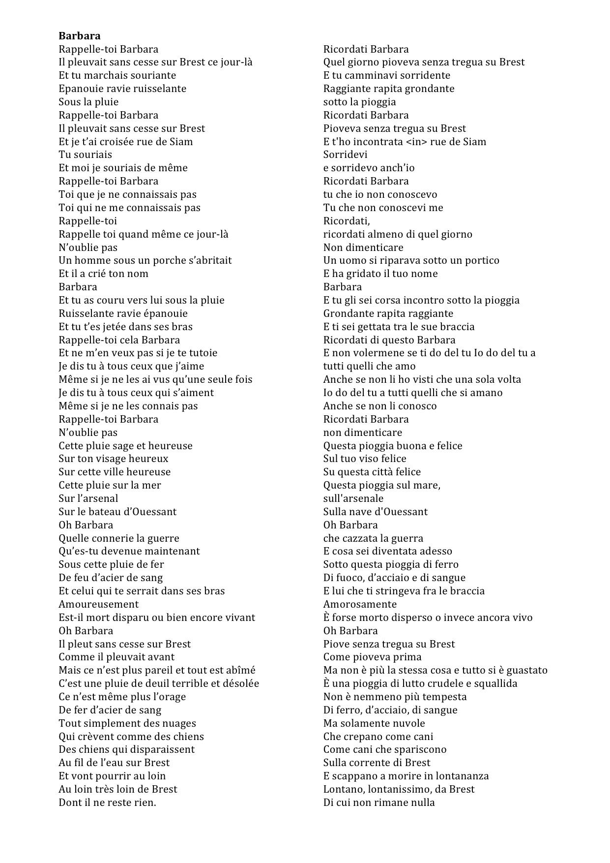 Amato Barbara di Jacques Prévert, tra poesia e canzone: un'ipotesi di  BY47