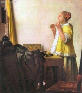 Vermeer Donna con collana di perle