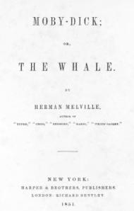 """Frontespizio della prima edizione di """"Moby Dick"""", Harper&Collins, 1859"""