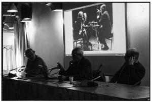 Stefano Schiavoni (Assessore alla Cultura di Senigallia), Maurizio Cesarini (artista), Paolo Tarsi (direttore artistico di Contemporary Jukebox)