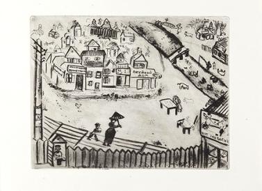 """Chagall, """"La città di N."""" (dal ciclo """"Le anime morte""""), 1927."""