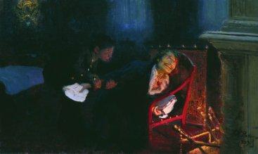 """Repin, """"Gogol brucia il manoscritto della seconda parte de Le anime morte"""", 1909."""