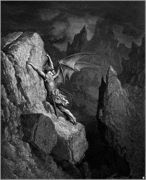 """Gustavo Doré, La caduta di Lucifero (1865) Illustrazione per """"Il paradiso perduto"""" di Milton"""