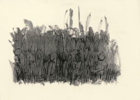 Nidi nel nido - pastelli ad acqua su carta, 105x77 - 2013