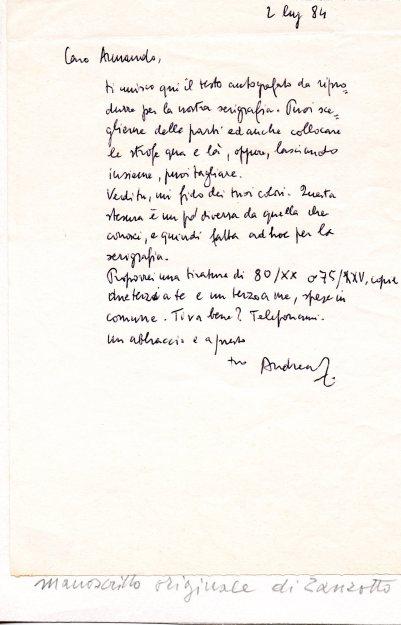 Letterina di Zanzotto a Pizzinato, datata 1984, in cui gli chiede di illustrare la sua poesia