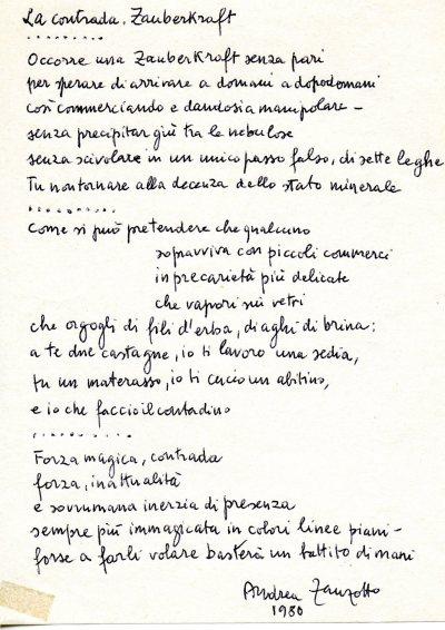 Trascrizione manoscritta di Zanzotto del gruppo dei versi concordati con Pizzinato