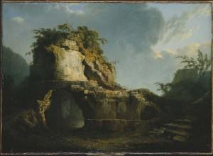 "Joseph Wright of Derby – La ""tomba di Virgilio"": sole che filtra attraverso una nuvola – 1785 – olio su tela – National Museums Northern Ireland, Colletion Ulster Museum"
