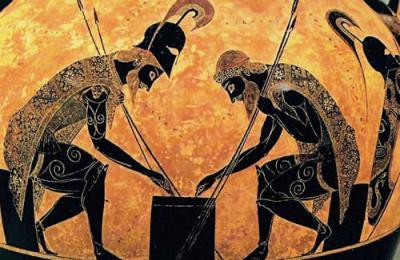 Achille e Aiace giocano ai dadi (particolare dell'anfora a figure nere di Exachias; Musei Vaticani)