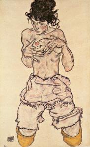 egon-schiele-torso-nudo-inginocchiato1919-collezione-priovata
