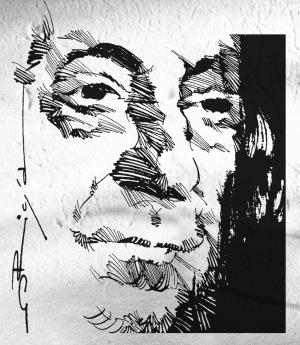 Sandro Penna, portrait by origa, pen&ink, 2012